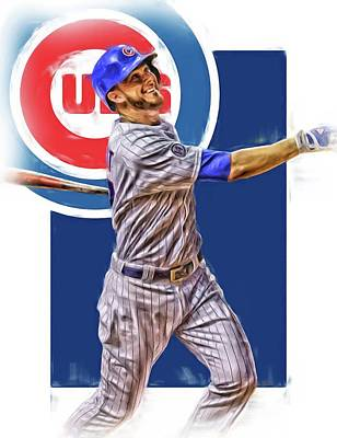 Door Mixed Media - Kris Bryant Chicago Cubs Oil Art by Joe Hamilton