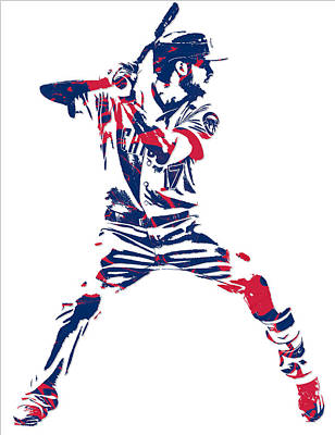 Mixed Media - Kris Bryant Chicago Cubs Pixel Art 10 by Joe Hamilton