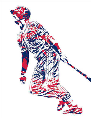 Mixed Media - Kris Bryant Chicago Cubs Pixel Art 12 by Joe Hamilton