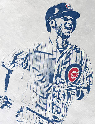 Door Mixed Media - kris bryant CHICAGO CUBS PIXEL ART 2 by Joe Hamilton