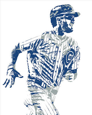 Mixed Media - Kris Bryant Chicago Cubs Pixel Art 30 by Joe Hamilton