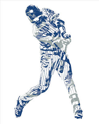 Mixed Media - Kris Bryant Chicago Cubs Pixel Art 31 by Joe Hamilton