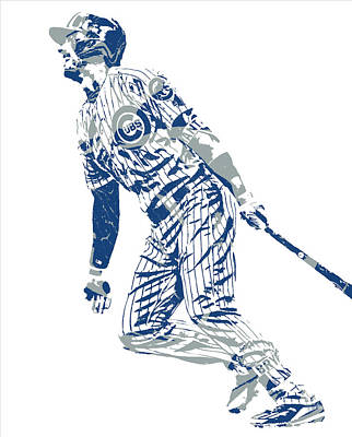 Mixed Media - Kris Bryant Chicago Cubs Pixel Art 32 by Joe Hamilton