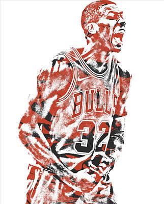 Bull Mixed Media - Kris Dunn Chicago Bulls Pixel Art 3 by Joe Hamilton