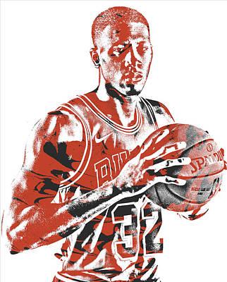 Bull Mixed Media - Kris Dunn Chicago Bulls Pixel Art 5 by Joe Hamilton