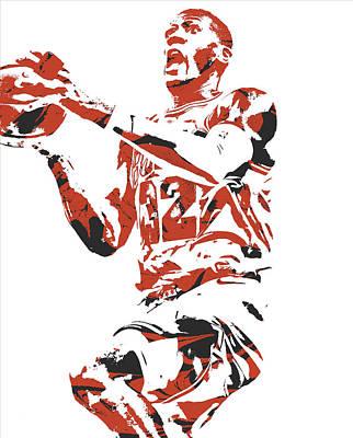 Bull Mixed Media - Kris Dunn Chicago Bulls Pixel Art 6 by Joe Hamilton