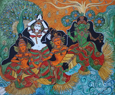 Painting - Krishna And Gopika by Saranya Haridasan