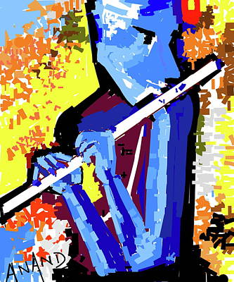 Digital Art - Krishna Playing Flute-b by Anand Swaroop Manchiraju