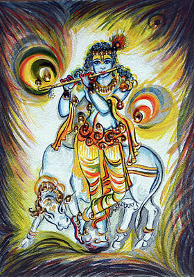 Painting - Krishna - Flute - Cow by Harsh Malik