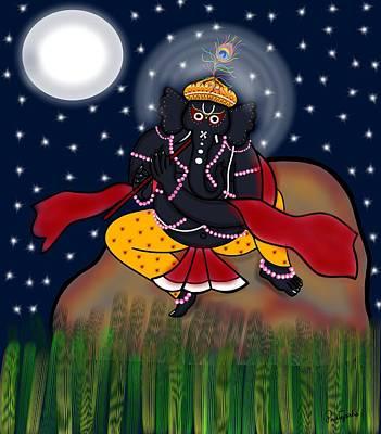 Krishna Ganapati Art Print by Pratyasha Nithin