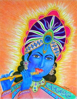 Krishna -- Colorful Portrait Of Hindu God Art Print