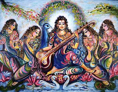 Swan Goddess Painting - krishna - Kirtan  by Harsh Malik
