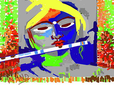 Digital Art - Krishna Playing Flute-c by Anand Swaroop Manchiraju
