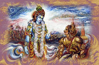Painting - Krishna Preaching Arjuna - Bhagwat Geeta by Harsh Malik