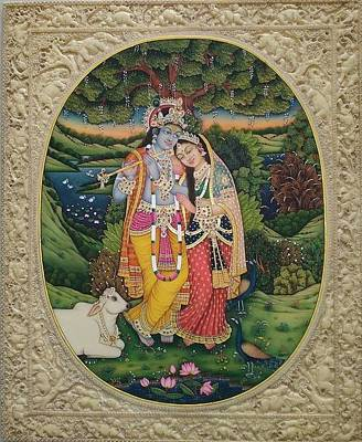 Certain Painting - Krishna Radha  Iscon Miniature Painting India Vedic Veda by A K Mundra