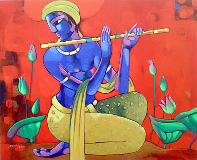 Indian Contemporary Artist Painting - Krishna by Sekhar Roy