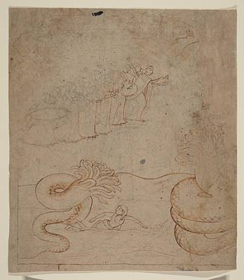 Krishna Subdues The Serpent Kaliya In The Yamuna River Illustration From A Bhagavata Purana Series Original by Attributed to a follower of Nainsukh