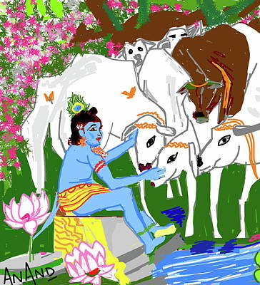 Digital Art - Krishna With Cows-d by Anand Swaroop Manchiraju