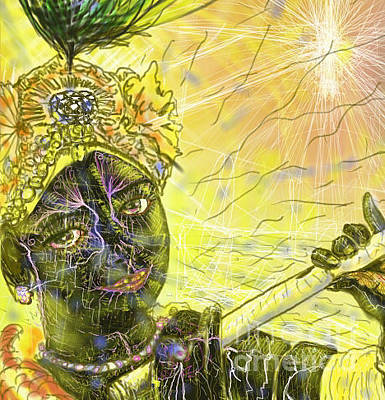 Divine Spark Digital Art - Krishna With Spiritual Illumination Close Up by Michael African Visions