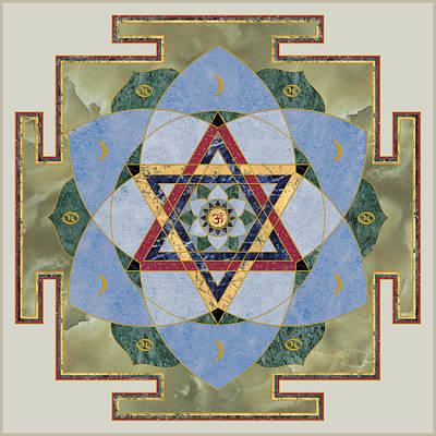 Devotional Digital Art - Krishna Yantra. Gayatri Yantra. Yoga Decor. Astrology. by Alex Kronik