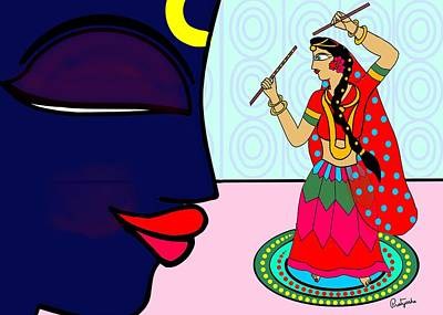 Painting - Krishnadasi by Pratyasha Nithin