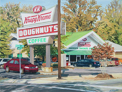 Donuts Painting - Krispy Kreme At Daytime by Tommy Midyette