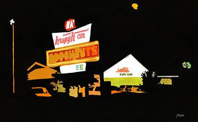 Krispy Kreme At Night Art Print