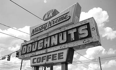 Photograph - Krispy Kreme Sign In Spartanburg South Carolina Bw by Joseph C Hinson Photography
