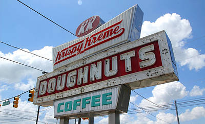 Photograph - Krispy Kreme Sign In Spartanburg South Carolina Color by Joseph C Hinson Photography