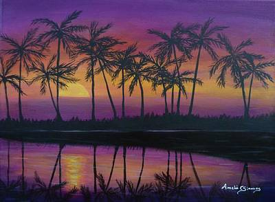 Painting - Kristine's Sunset by Amelie Simmons