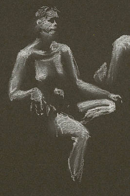 Drawing - Kroki 2015 04 25 _3 Figure Drawing White Chalk Beskuren by Marica Ohlsson