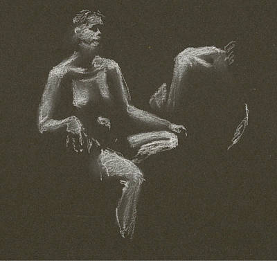 Drawing - Kroki 2015 04 25 _3 Figure Drawing White Chalk by Marica Ohlsson
