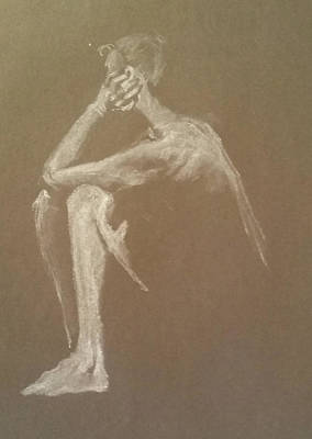 Drawing - Kroki 2015 06 18_9 Figure Drawing White Chalk by Marica Ohlsson