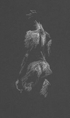 Drawing - Kroki 2015 09 26 _3 Figure Drawing White Chalk by Marica Ohlsson