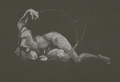 Drawing - Kroki 2015 10 03_14b Figure Drawing White Chalk by Marica Ohlsson