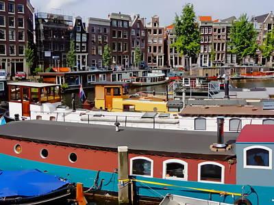 Digital Art - Kromme Waal Houseboats by Anthony Dezenzio