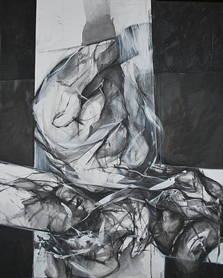 Abstracted Figuration Painting - Krst II by Mirjana Lucic