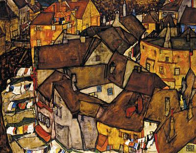 Krumau - Crescent Of Houses Art Print by Egon Schiele