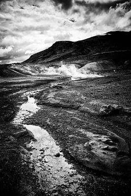 Photograph - Krysuvik Geothermal Area Iceland Black And White by Matthias Hauser