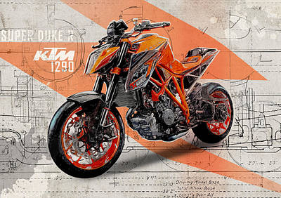 Marker Wall Art - Digital Art - Ktm 1290 Super Duke R by Yurdaer Bes