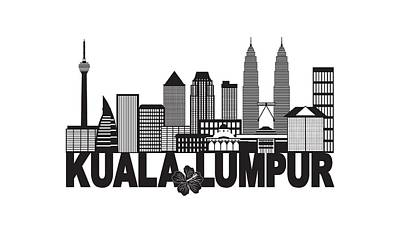 Photograph - Kuala Lumpur City Skyline Text Black And White Illustration by Jit Lim