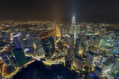 Travel Photograph - Kuala Lumpur Cityscape At Night by David Gn