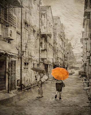 Photograph - Kuala Lumpur, Malaysia - Orange Umbrella by Mark Forte