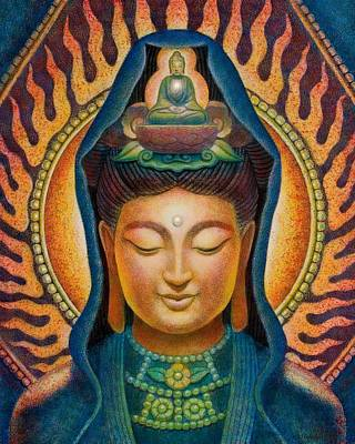 Kuan Yin Flame Print by Sue Halstenberg