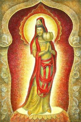 Kuan Yin Lotus Print by Sue Halstenberg