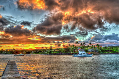 Photograph - Kukui Ula Small Boat Harbor Kauai Sunset Art by Reid Callaway