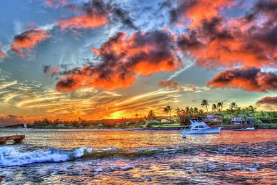 Photograph - Kukui Ula Small Boat Harbor Sunset 7 Kauai Sunset Art  by Reid Callaway