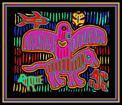 Digital Art - Kuna Indian Bird Flying With Dog  by Vagabond Folk Art - Virginia Vivier
