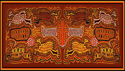 Digital Art - Kuna Indian Demon Spirits by Vagabond Folk Art - Virginia Vivier