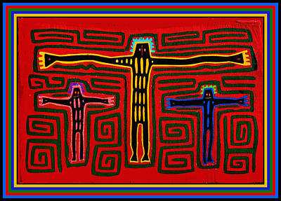Kuna Indian Folk Art Crucifix Art Print